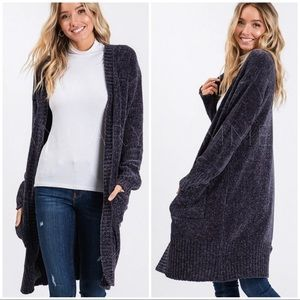 OVERSTOCK SPECIAL//CHENILLE CHARCOAL CARDIGAN